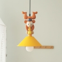 Cartoon Cone Shade Hanging Pendant Iron 1/3-Head Kids Bedroom Suspension Lamp with Monkey Top in Orange-Yellow