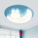 Acrylic Moon/Rabbit Flush Mount Lamp Cartoon Blue/Pink LED Ceiling Light Fixture for Kids Bedroom