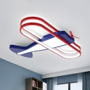Iron Plane Ceiling Light Fixture Kids Dark Blue LED Flush Mount Recessed Lighting