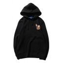 Chic Dog Printed Pouch Pocket Long Sleeve Drawstring Loose Fit Hoodie for Men