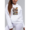 Popular Womens Sherpa Liner Cartoon Sushi Printed Kangaroo Pocket Relaxed Hoodie in White