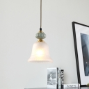 1-Head Hanging Fixture Classic Style Living Room Pendant Lamp with Bell White Glass Shade in Brass