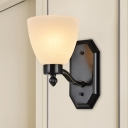 Black Bowl Shade Wall Light Fixture Country Style Frosted Glass 1/2 Bulbs Living Room Wall Mount Lighting