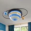 Semiglobe Bedroom Ceiling Mounted Light Blue Planet Glass 2 Heads Cartoon Flush Lamp in White/Warm Light