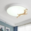 Metal Round Flush Light Fixture Macaron LED Flush Mounted Lamp in Grey/Green/White with Wooden Deer Deco
