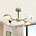 Gold Radial Chandelier Light Postmodern 4/6/8 Bulbs Frosted Glass Ceiling Suspension Lamp