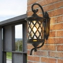 Cottage Lattice Cylinder Wall Lamp 1 Light Clear Glass Wall Light Fixture in Black with Curvy Arm
