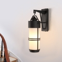 Opal Glass Cylinder Wall Mount Light Retro 1 Bulb Stair Wall Sconce Lighting in Black
