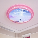 Kids Circular Flush Light Acrylic LED Bedroom Flush Mount in Pink with Sky Pattern and Crystal Accent
