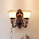 1/2-Light Resin Wall Hanging Light Korean Pastoral Rust Finish Scalloped Bedroom Sconce Lamp