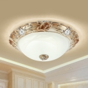 2/3 Heads Dome Flush Mount Lamp Retro Style White Glass Close to Ceiling Light, 13