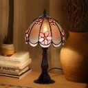Cut Glass Scalloped Edge Night Lamp Mediterranean 1 Bulb Coffee/White Desk Lighting with Bloom Pattern
