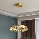 Luxurious Loop Pendant Chandelier Cubic Crystal LED Ceiling Hang Fixture in Gold for Kitchen