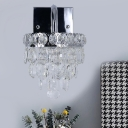 Chrome Layered Wall Sconce Light Modern Cut Crystal Living Room LED Wall Lamp Fixture