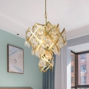 Multi Layered Crystal Chandelier Luxury 4-Light Living Room Pendant Ceiling Light in Gold