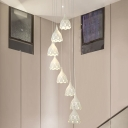 Laser Cut Scalloped Cluster Pendant Nordic Metal 8 Heads White Hanging Ceiling Light for Stair