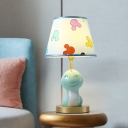 Fabric Tapered Night Light Cartoon 1 Head Blue Table Lighting with Resin Snake Decoration