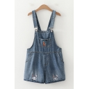 Stylish Girls Carrot Rabbit Embroidered Patched Pocket Rolled Cuffs Relaxed Suspender Denim Shors in Dark Blue