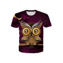Cartoon Owl 3D Patterned Short Sleeve Crew Neck Regular Fit Exclusivev T Shirt for Boys
