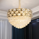 14-Light Tiered Chandelier Modern Stylish Gold Crystal Hanging Lamp with Gridded Edge