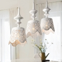 Metal Ruffle Edge Cluster Pendant Pastoral 3 Heads Restaurant Drop Lamp in White with Cutout Flower Design