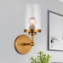 Cylindrical Wall Mount Lighting Fixture Simple Clear Striped Glass Single Brass Wall Sconce for Living Room