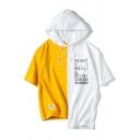 Trendy Mens Patchwork Letter Rather Do Would Printed Applique Hooded Asymmetric Hem Short Sleeve Crew Neck Regular Fit T-Shirt
