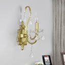 Gold 1/2-Light Wall Mount Fixture Traditional Iron Candlestick Wall Sconce Light with Crystal Accent