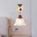 Kids Bell Clear Glass Drop Pendant 1-Bulb Hanging Ceiling Light with Bird/Globe Top in Red