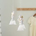 Sprite Child Room Multi Hanging Lamp Clear Glass 3/6-Head Cartoon Pendant Ceiling Light in White