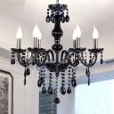 Black Crystal Candle Pendant Light Antique 6 Heads Bedroom Chandelier Lighting Fixture