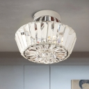 3-Bulb Semi Flush Mount Modern Bedroom Flush Light with Cone Crystal Shade in Chrome