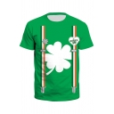 Trendy Mens Clover Straps 3D Printed Short Sleeve Crew Neck Slim Fitted T Shirt in Green