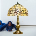 2-Bulb Table Lighting Baroque Bowl Shade Shell Pull Chain Desk Light in Brushed Brass with Petal Pattern