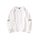 Basic Letter Rampo Long Sleeve Crew Neck Regular Fitted Pullover Sweatshirt for Men