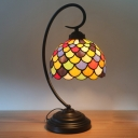 Fishscale Night Lighting Tiffany Stained Glass 1 Bulb Dark Coffee Table Lamp with Dome Shade