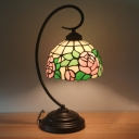 1-Light Bedside Night Table Lighting Baroque Red/Pink/Orange Petal Patterned Nightstand Lamp with Dome Stained Glass Shade