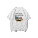 Letter Fresh Delicious Noodles Graphic Short Sleeve Crew Neck Oversize Chic Tee Top for Boys