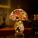 Cut Glass Dome Night Light Victorian 1-Light Bronze Flower Patterned Table Lamp with Vase Base
