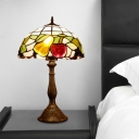 Victorian Fruit Table Lamp 1-Head Stained Art Glass Nightstand Lighting in Bronze with Dome Shade