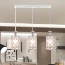 Cylinder Cluster Pendant Contemporary Inserted Crystal 3-Light Silver Finish Hanging Lamp