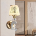 1/2-Light Dolphin Wall Lighting Modern Gold Frosted Glass Wall Sconce with Crystal Ball