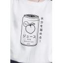 Popular Letter Japanese Letter Juice Graphic Short Sleeve Crew Neck Loose T Shirt in White