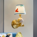 Gold Monkey Wall Mount Lamp Cartoon 1-Bulb Resin Wall Sconce with Blue Fabric Shade