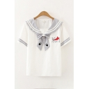 Preppy Girls Cartoon Cat Printed Striped Short Sleeves Sailor Collar Bow Tie Front Relaxed T Shirt
