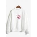 Cute Girls Peach Juice Patterned Long Sleeve Mock Neck Loose Pullover Sweatshirt