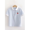Cherry Embroidery Contrasted Short Sleeve Turn-down Collar Button up Relaxed Cute Polo Shirt for Girls