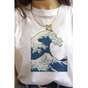 Chic Womens Cartoon Wave Printed Rolled Short Sleeve Crew Neck Relaxed T Shirt in White