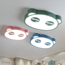 Panda Children Room Flushmount Iron Cartoon LED Flush Mount Ceiling Light in Pink/Blue/Green