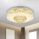 Drum Living Room Ceiling Mounted Fixture Clear Crystal Glass 8 Lights Modernist Flush Lamp